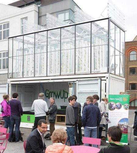 A mobile urban farm built from a shipping container.
