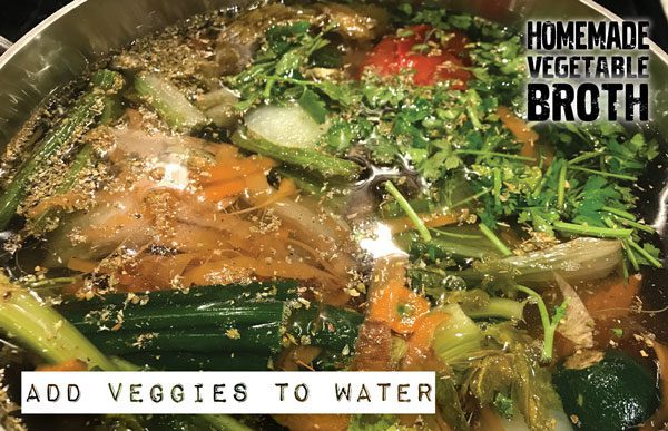 add veggies to boiling water
